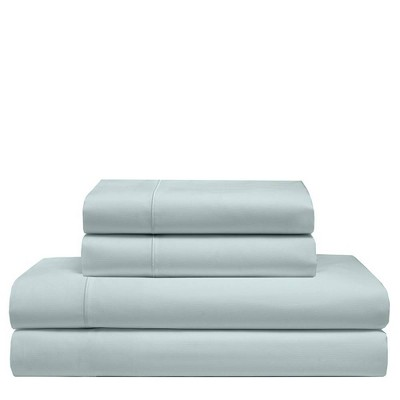 Queen 525 Thread Count Solid Cooling Cotton Sheet Set Pale Blue - Elite Home Products