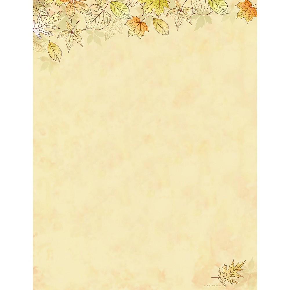 Image of 80ct Crispy Fall Leaves Letterhead, Gold