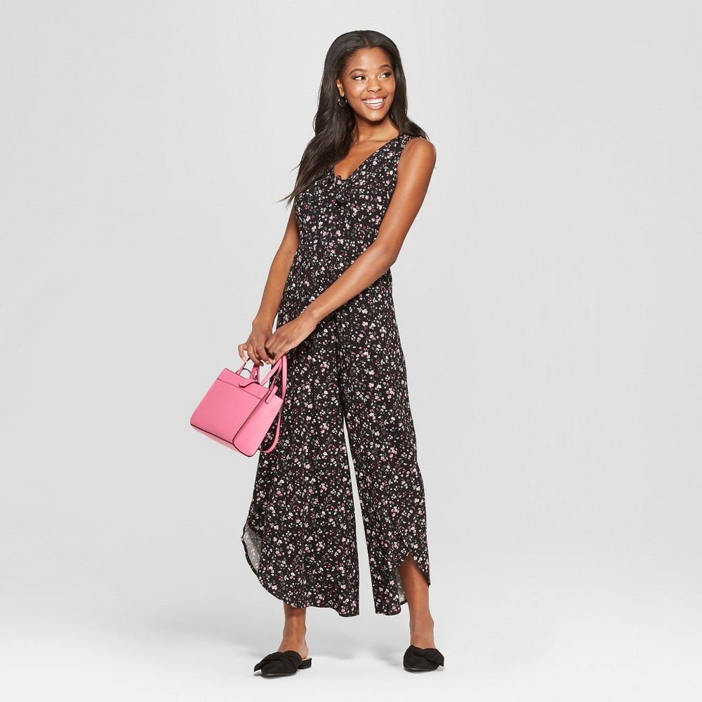 Women's Floral Print Sleeveless Wide Leg Tie Front Tulip Leg Jumpsuit - Xhilaration Black Xxl