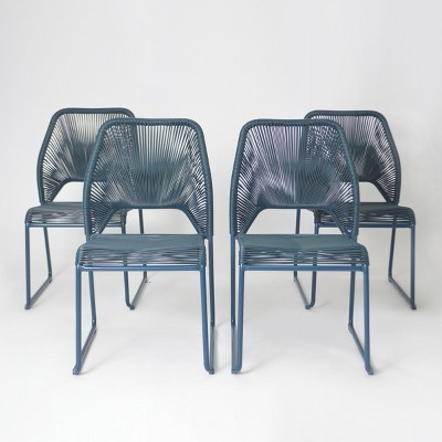 Fisher 4pk Patio Dining Chair Blue - Project 62™