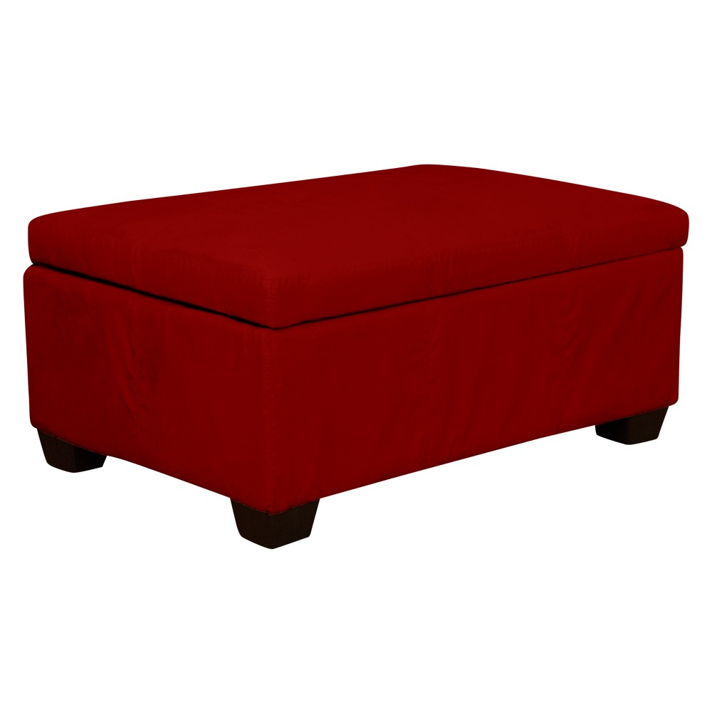 Heirloom Tufted Padded Hinged Ottoman Suede Cardinal Red 48 Rectangle - Sit N Sleep