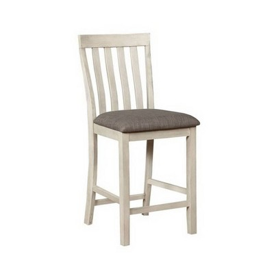 Set of 2 Vertical Slatted Back Wooden Counter Height Barstools White/Gray - Benzara