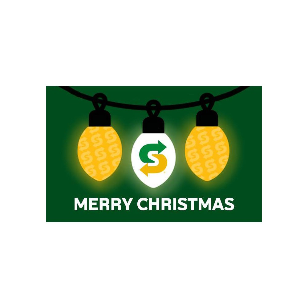 Subway Holiday Gift Card 50 Email Delivery