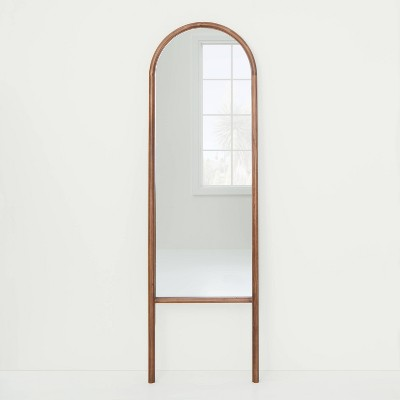"20"" x 65"" Wood Arched Floor Mirror Walnut - Threshold™ designed with Studio McGee"