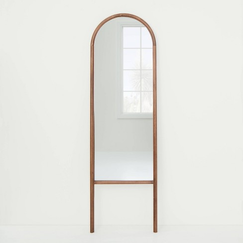 """20"""" x 65"""" Wood Arched Floor Mirror Walnut - Threshold™ designed with Studio McGee - image 1 of 4"""