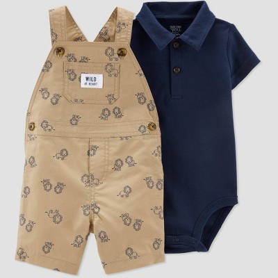 Baby Boys' 2pc Turtle Print Shortall Set - Just One You® made by carter's Navy/Khaki 6M