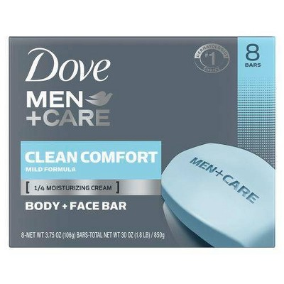 Dove Men+Care Clean Comfort Body & Face Bar Soap - 3.75oz/8ct