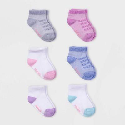 Hanes Premium Toddler Girls'6pk Comfort Soft Ankle Socks - Colors May Vary - 2T-3T