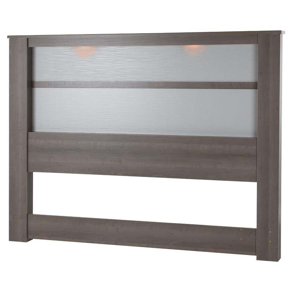 Gloria Headboard with Lights - King - Gray Maple - South Shore, Grey