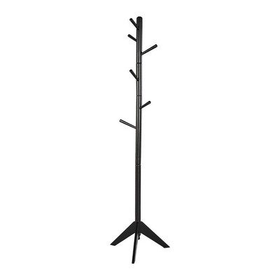 Contemporary Style Hall Tree Coat Rack Black - Benzara