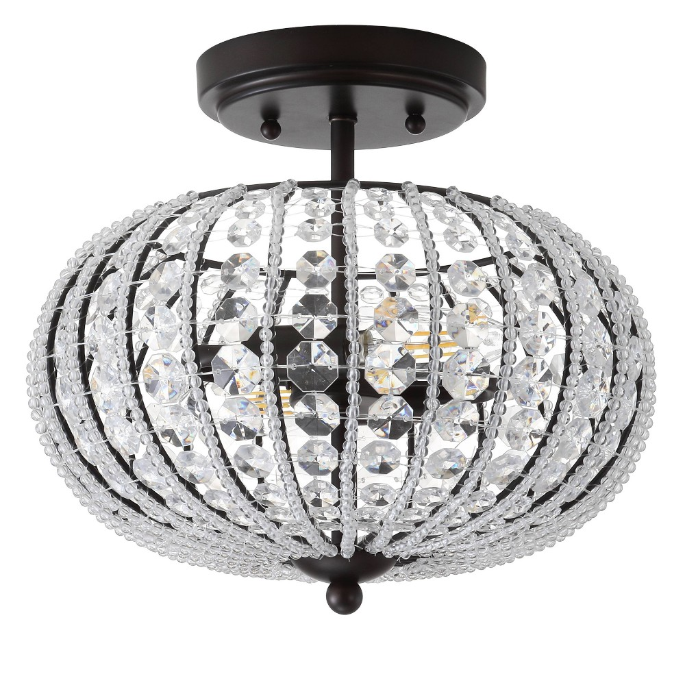 "Image of ""11.75"""" Catalina Metal /Acrylic LED Semi-Flush Mount Black (Includes Energy Efficient Light Bulb) - JONATHAN Y"""