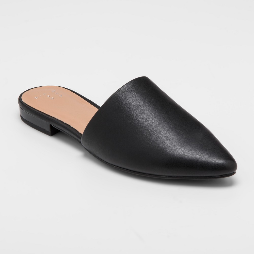 Women's Junebug Wide Width Backless Mules - A New Day Black 9.5W, Size: 9.5 Wide