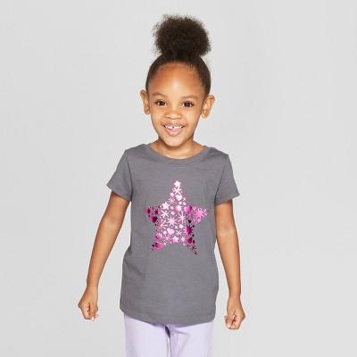 Toddler Girls' Short Sleeve 'Star' Graphic T-Shirt - Cat & Jack™ Gray 18M