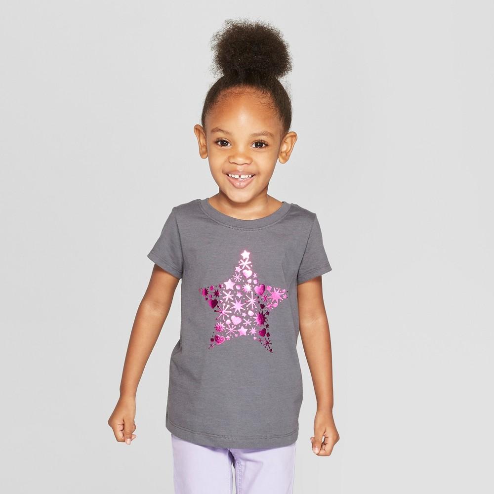 Toddler Girls' Short Sleeve 'Star' Graphic T-Shirt - Cat & Jack Gray 2T