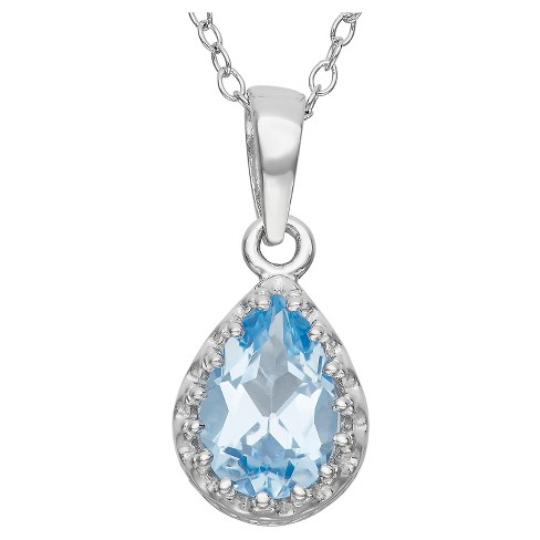 Pear-Cut Aquamarine Crown Pendant in Sterling Silver - image 1 of 1
