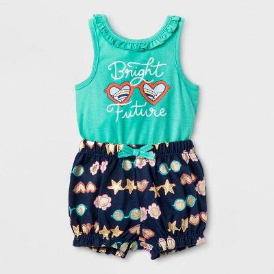 Baby Girls' Bodysuit and Shorts Set - Cat & Jack™ Aqua/Navy 6-9M