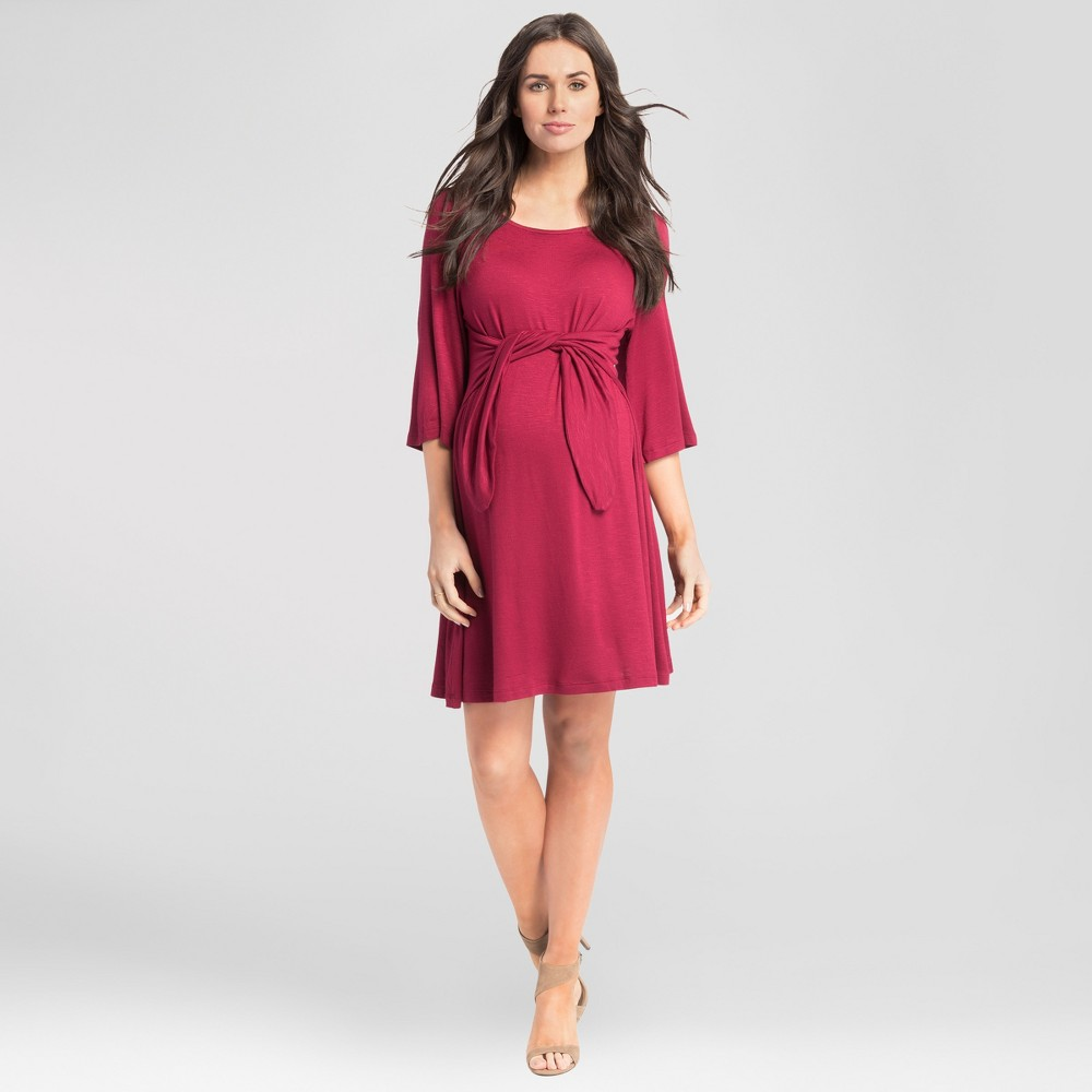 Maternity Tie Front Dress - Expected by Lilac - Burgundy (Red) M, Women's