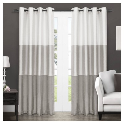"Set of 2 96""x54"" Chateau Striped Faux Silk Grommet Top Window Curtain Panels Light Gray - Exclusive Home"