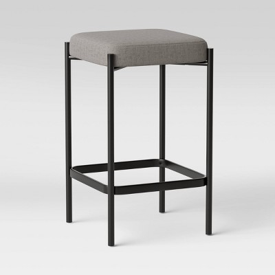 Edinburgh Upholstered Backless Counter Height Barstool with Metal Base Gray - Project 62™