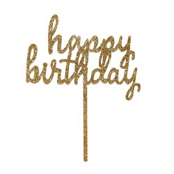 """Happy Birthday"" Cake Decor Gold - Spritz™"
