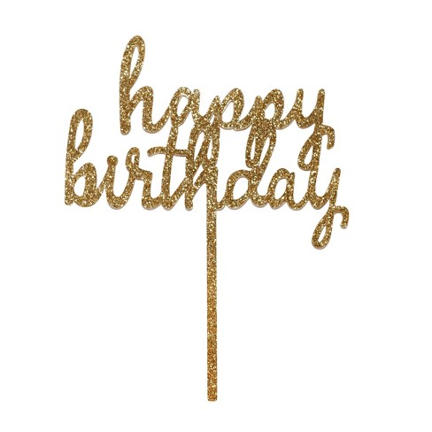 Happy Birthday Cake Decor Gold Spritz Target
