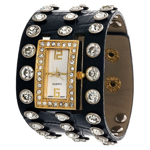 Women's Leatherette Cuff Analog Watch - Black with Gold Dial - Xhilaration™ - image 1 of 2