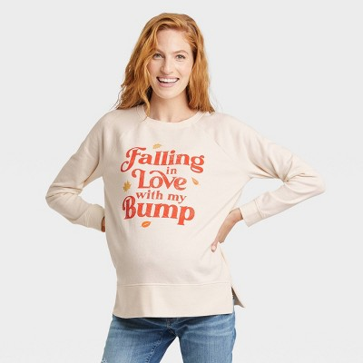 Falling In Love With My Bump Graphic Maternity Sweatshirt - Isabel Maternity by Ingrid & Isabel™ Off-White