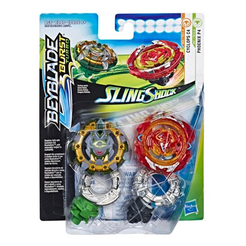 Beyblade Burst Turbo Slingshock Dual Pack Phoenix P4 and Cyclops C4 - 2  Right-Spin Battling Tops