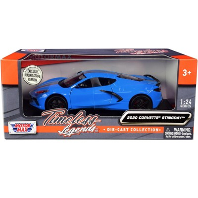 """2020 Chevrolet Corvette C8 Stingray Blue with Silver Racing Stripes """"Timeless Legends"""" 1/24 Diecast Model Car by Motormax"""