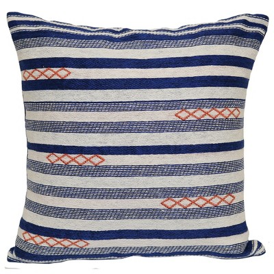 Outdoor Throw Pillow Square - Blue/Natural Woven Stripe - Threshold™