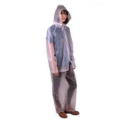 Stansport Women's 3 Piece .12 mm Thick Rainsuit Clear