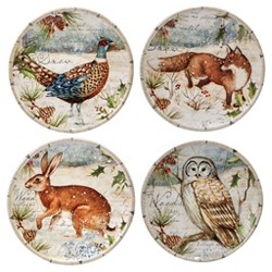 "Certified International® Winter Lodge Ceramic Appetizer Plates 6"" Gray - Set of 4"