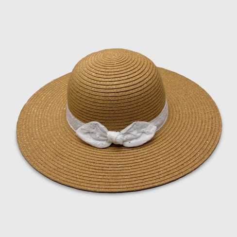Toddler Girls' Paper Braid with Gold Lurex Floppy Hats - Cat & Jack™ Brown 2T-5T - image 1 of 2