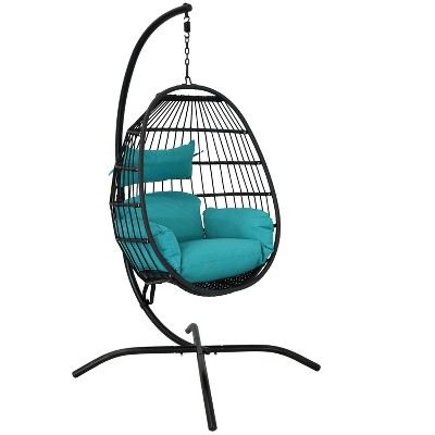Dalia Hanging Egg Chair with Seat Cushions and Stand - Teal - Sunnydaze