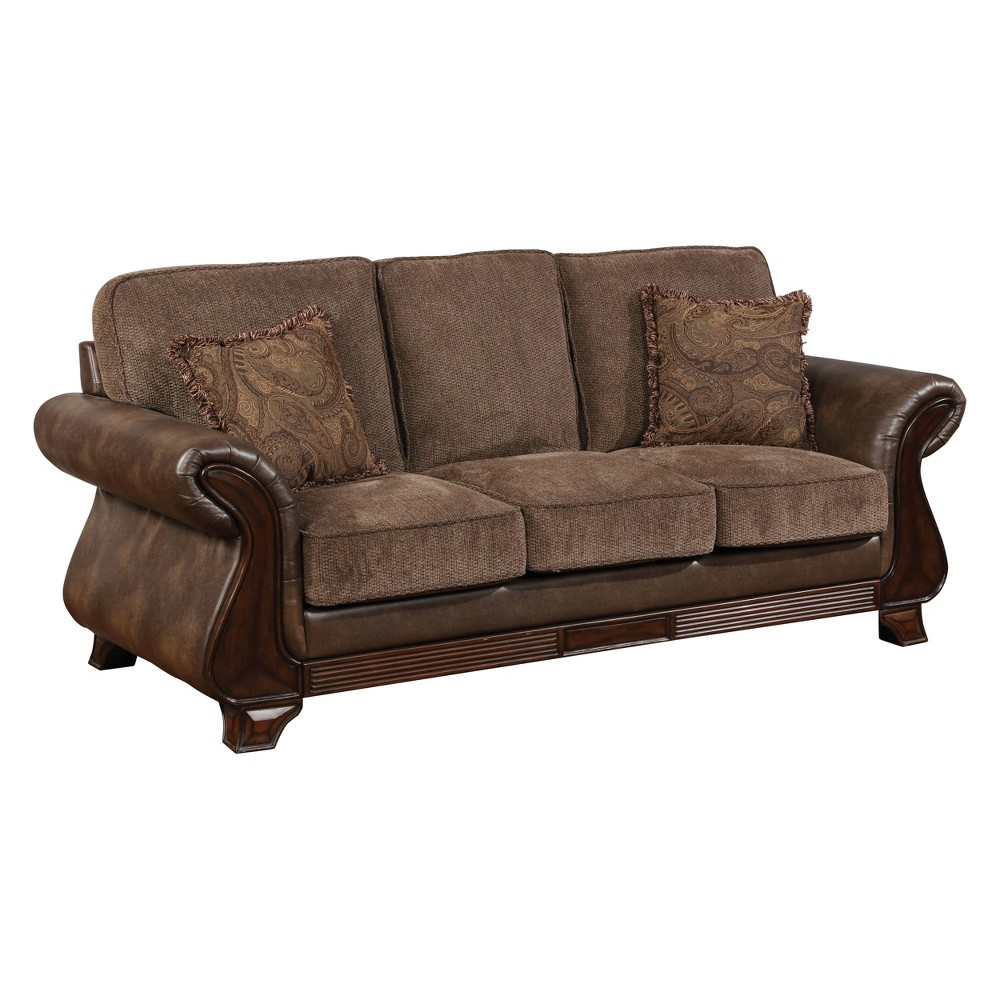 Iohomes Isabelle Traditional Fabric And Leatherette Sofa Brown - Homes: Inside + Out