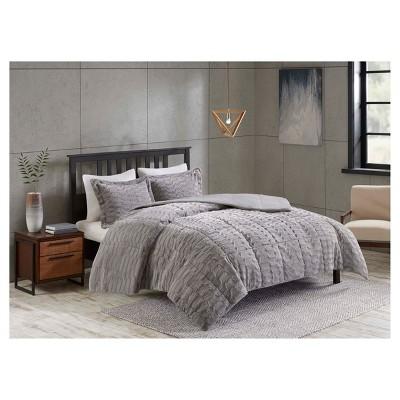 F/Q Grey Vermont Long Faux Fur 3pcs Comforter set