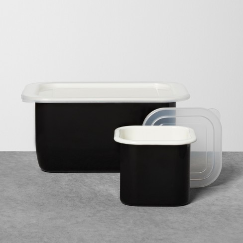 Enamel Rectangle and Square Food Storage Set with Lid Black - Hearth & Hand™ with Magnolia - image 1 of 4