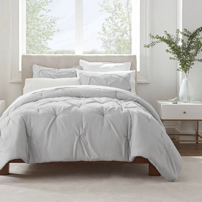 King 3pc Simply Clean Pleated Comforter Set Gray - Serta