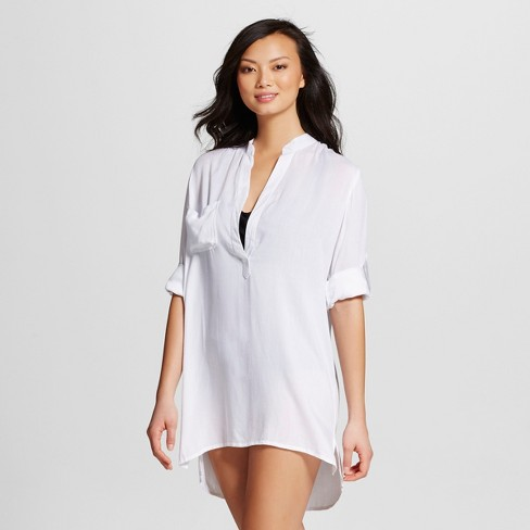 Women's Shirt Dress Cover Up - White - Mango Reef - image 1 of 2