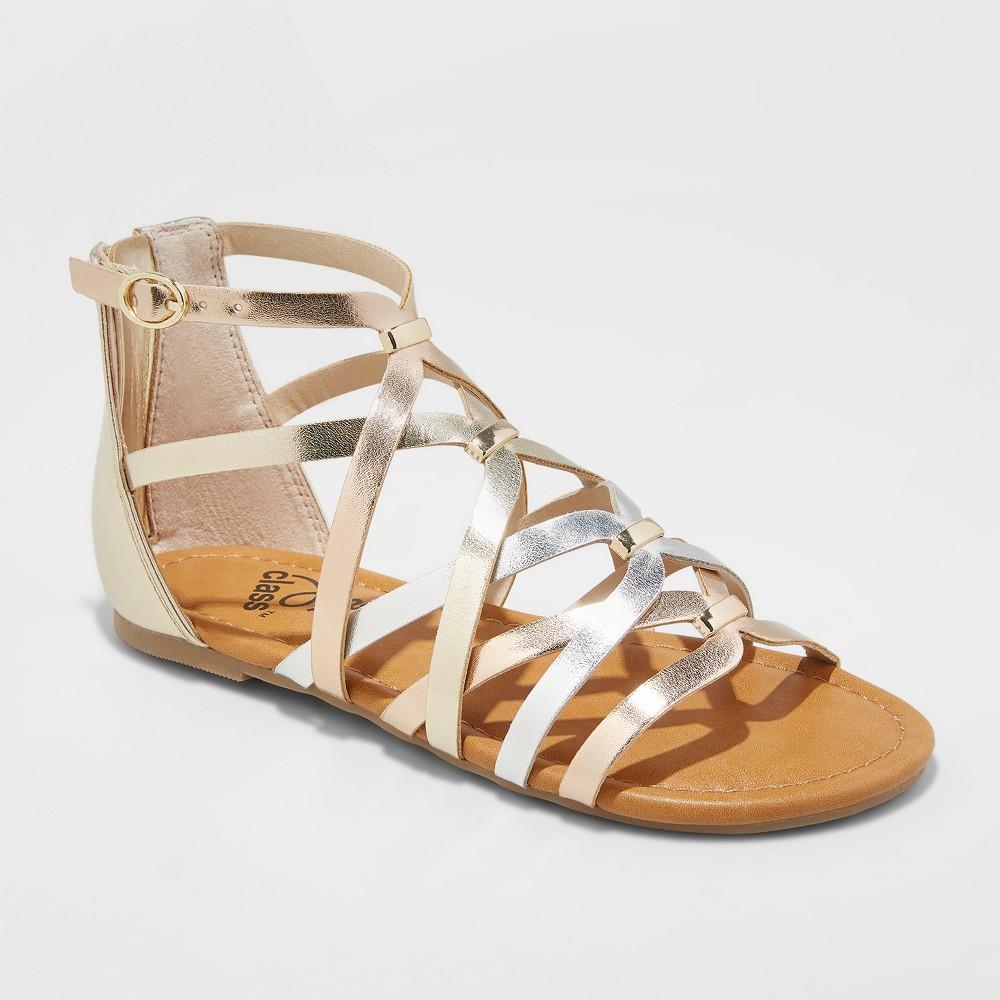 Image of Girls' Freya Metallic Gladiator Sandals - art class Rose Gold 4, Girl's, Pink Gold