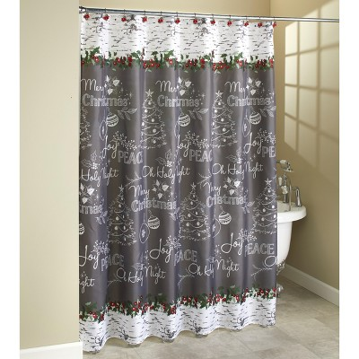 Lakeside Christmas Shower Curtain - Chalkboard Writing of Wishes for the Holidays - Red