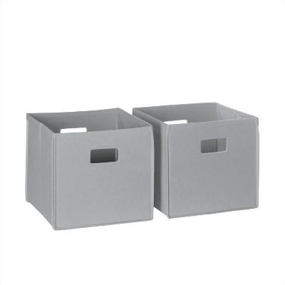 2pc Folding Toy Storage Bin Set Gray - RiverRidge