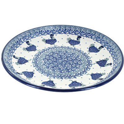 Blue Rose Polish Pottery Barnyard Rooster Dessert Plate
