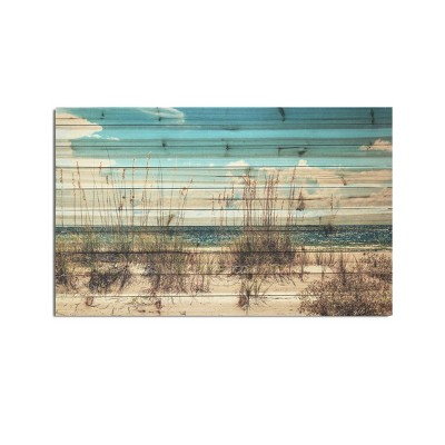 """48"""" x 30"""" Sand Dunes Print on Planked Wood Wall Sign Panel Blue - Gallery 57"""