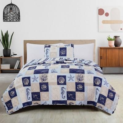 Great Bay Home Coastal Patchwork Reversible Quilt Set