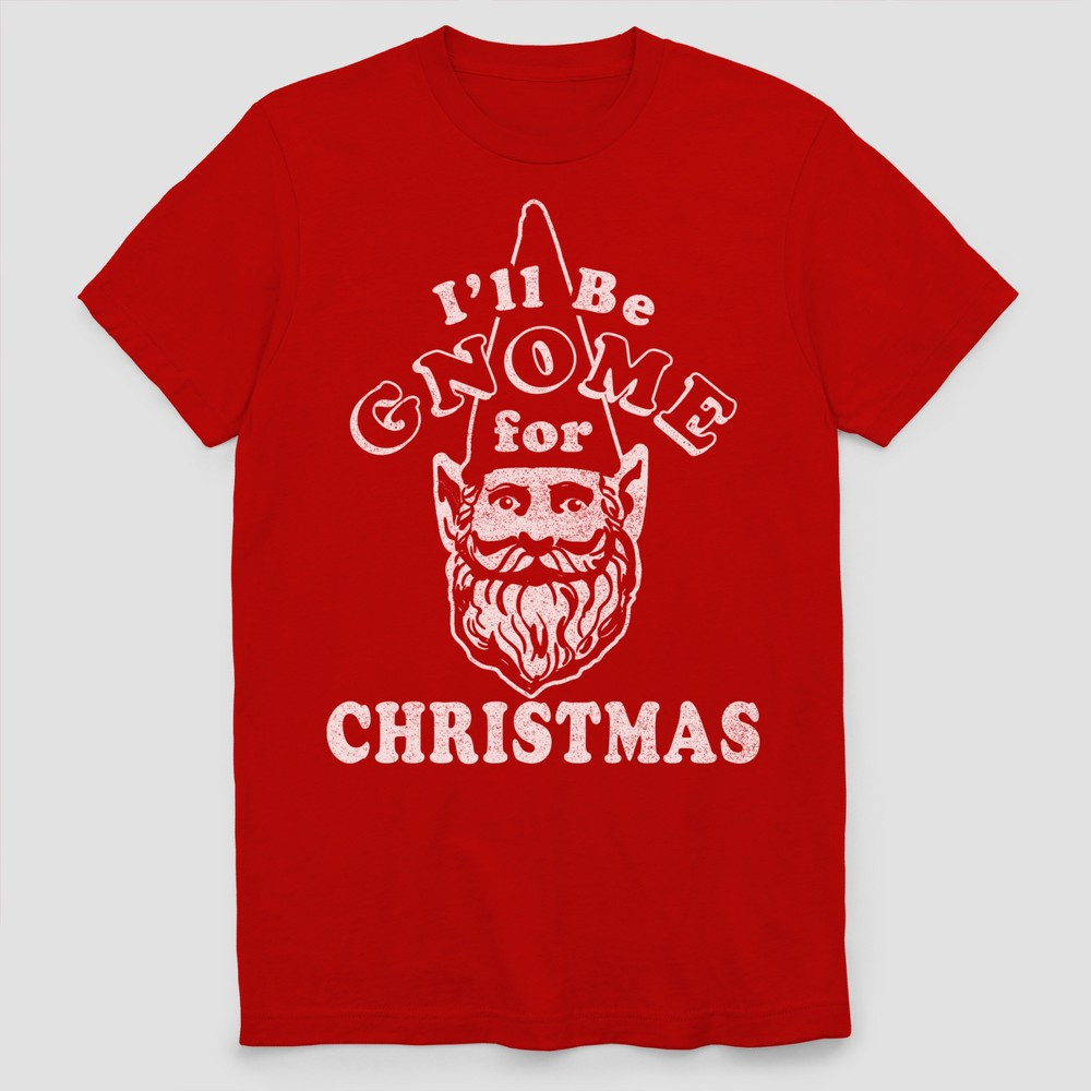 Men's Tall Short Sleeve Ugly Holiday Gnome T-Shirt - Ripe Red Heather Xlt