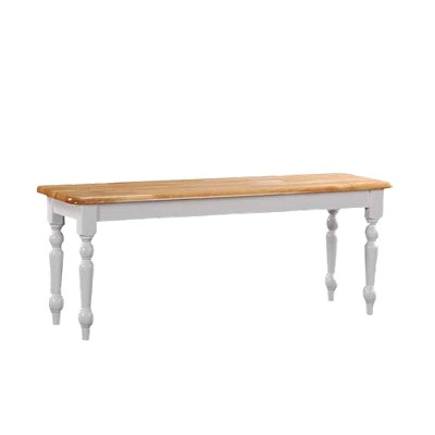 Farmhouse Dining Bench Wood/White/Natural - Boraam