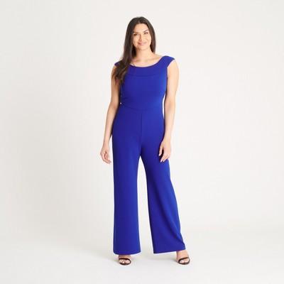 Women's Cobalt Blue Boat Neck Jumpsuit - Connected Apparel