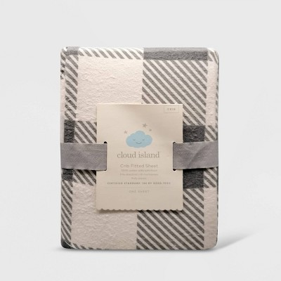 Flannel Crib Fitted Sheet Buffalo Check - Cloud Island™ Gray/White