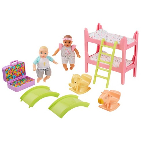"Perfectly Cute My Lil' Baby Bunk Bed Playroom Playset with 8"" Blonde Boy & Brunette Baby Girl Dolls - image 1 of 11"